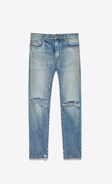 SAINT LAURENT Skinny fit U Original Mid Waisted Skinny Jean in Light Vintage Blue Denim a_V4