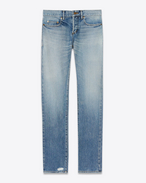 SAINT LAURENT Denim Pants U Original Low Waisted Slim Jean in Light Vintage Blue Denim f