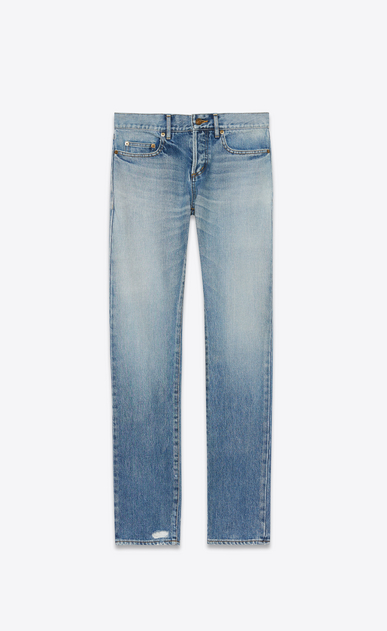 SAINT LAURENT Slim fit U Original Low Waisted Slim Jean in Light Vintage Blue Denim a_V4
