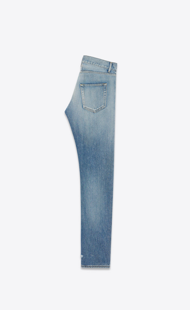 SAINT LAURENT Slim fit U Jean slim à taille basse en denim bleu clair vintage b_V4