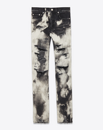 SAINT LAURENT Pantalone Denim U Jeans skinny original destroyed a vita bassa nero punk in denim f