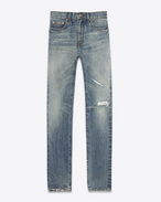 SAINT LAURENT Skinny fit U Original Low Waisted Skinny Jean in Medium Blue 80's Denim f