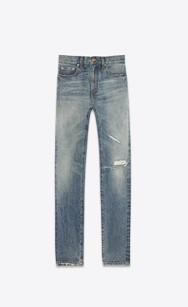 SAINT LAURENT Skinny fit U Original Low Waisted Skinny Jean in Medium Blue 80's Denim a_V4
