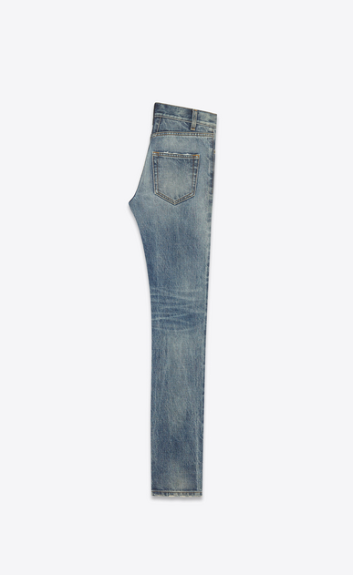 SAINT LAURENT Skinny fit U Original Low Waisted Skinny Jean in Medium Blue 80's Denim b_V4