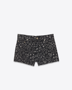 SAINT LAURENT Pantaloncini D Jeans shorts original neri e bianchi in denim stretch a stampa Star f