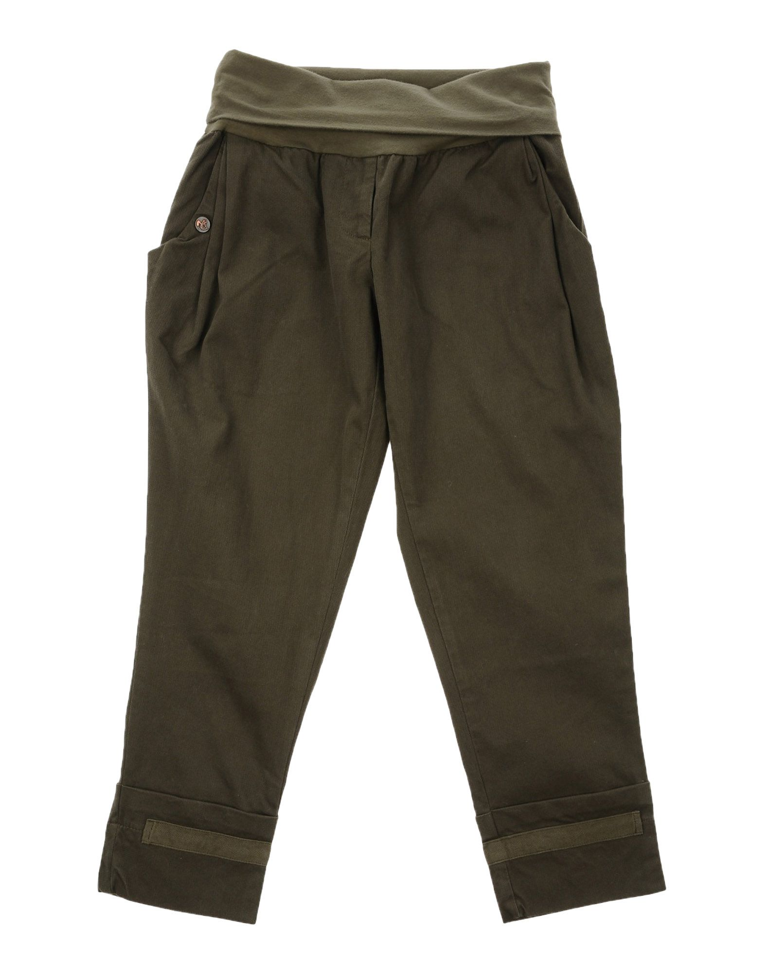 Manila Grace Kids' Casual Pants In Military Green