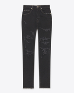 SAINT LAURENT Denim Trousers D Original High Waisted Skinny Jean in Blue Overdyed Black Dirty 50s Denim f
