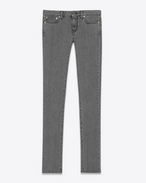 SAINT LAURENT Pantalone Denim D Jeans Original Skinny a vita bassa grigio scuro in denim stretch f