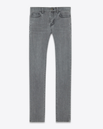SAINT LAURENT Denim Pants U Original Low Waisted Skinny Jean in Washed Grey Stretch Denim f