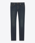 SAINT LAURENT Pantalone Denim U jeans skinny original a vita bassa blu scuro in denim stretch effetto usato f