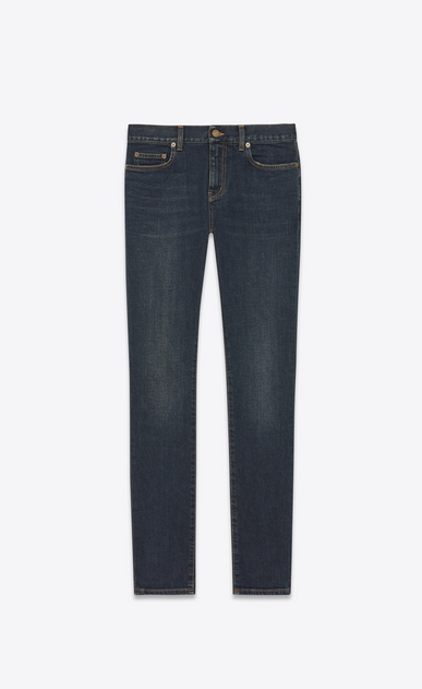 SAINT LAURENT Skinny fit U original low waisted skinny jean in dark blue used stretch denim a_V4