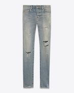 SAINT LAURENT Denim Pants U ORIGINAL Low WAISTED Destroyed SKINNY JEAN IN Dirty Original Blue Trash Denim f