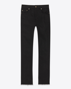 SAINT LAURENT Pantalone Denim U Jeans skinny original a vita media con orlo grezzo neri in denim stretch grezzo f