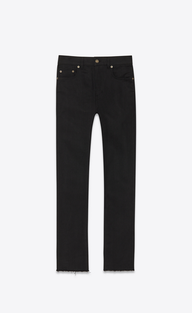 SAINT LAURENT Skinny fit U Original Mid Waisted Raw Edge Skinny Jean in Black Raw Stretch Denim a_V4
