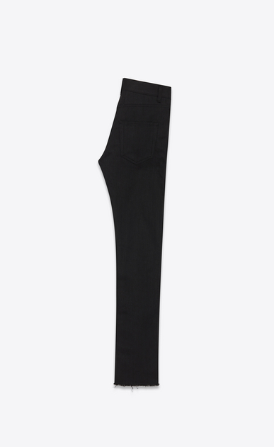 SAINT LAURENT Skinny fit U Original Mid Waisted Raw Edge Skinny Jean in Black Raw Stretch Denim b_V4