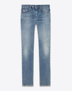 SAINT LAURENT Denim Pants U Original Low Waisted Raw Edge Skinny Jean in Old Blue Stretch Denim f