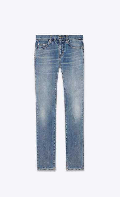 SAINT LAURENT Skinny fit U Original Low Waisted Raw Edge Skinny Jean in Old Blue Stretch Denim a_V4