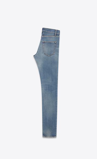 SAINT LAURENT Skinny fit U Original Low Waisted Raw Edge Skinny Jean in Old Blue Stretch Denim b_V4