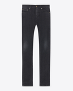 SAINT LAURENT Pantalone Denim U Jeans skinny original a vita media neri in denim stretch a effetto leggermente usato f
