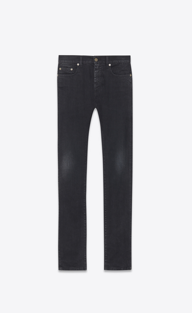 SAINT LAURENT Skinny fit U Original Mid Waisted Skinny Jean in Lightly Used Black Stretch Denim a_V4