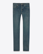 SAINT LAURENT Skinny fit U jean skinny à taille basse en denim stretch bleu clair f