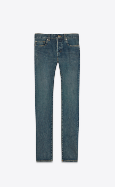 SAINT LAURENT Skinny fit U jean skinny à taille basse en denim stretch bleu clair a_V4
