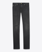 SAINT LAURENT Skinny fit U Jean skinny taille basse à bords bruts en denim stretch noir légèrement usé f