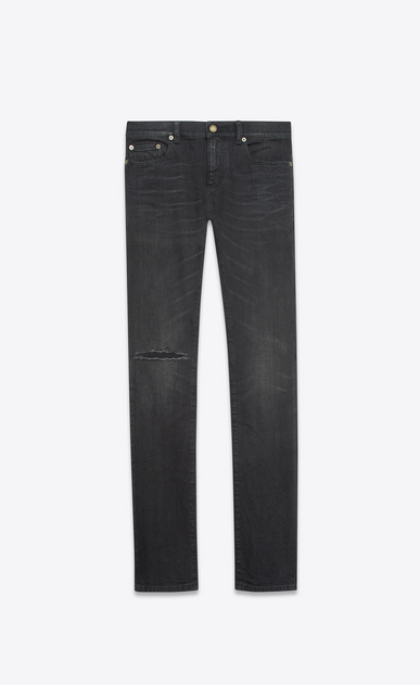 SAINT LAURENT Skinny fit U Jean skinny taille basse à bords bruts en denim stretch noir légèrement usé a_V4