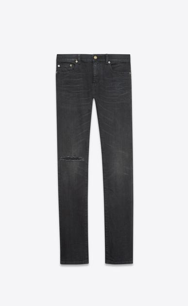 SAINT LAURENT Skinny fit U Original Low Waisted Raw Edge Skinny Jean in Lightly Used Black Stretch Denim v4