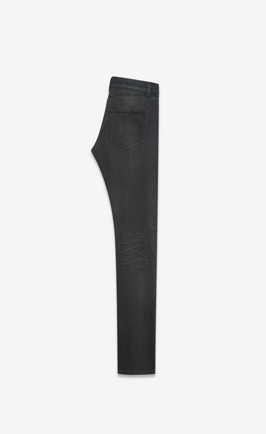 SAINT LAURENT Skinny fit U Jean skinny taille basse à bords bruts en denim stretch noir légèrement usé b_V4