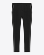 SAINT LAURENT Classic Pant D iconic le smoking tube trouser in black grain de poudre textured virgin wool f