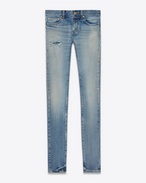 SAINT LAURENT Denim Pants D Original Low Waisted Skinny Jean in 90's Vintage Blue Stretch Denim f