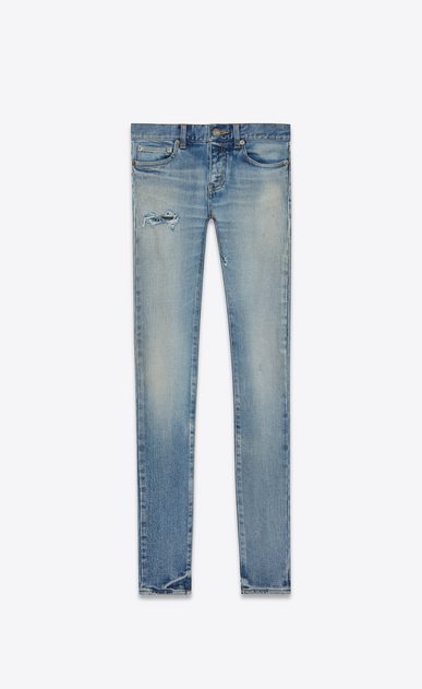 SAINT LAURENT Skinny fit D Original Low Waisted Skinny Jean in 90's Vintage Blue Stretch Denim v4