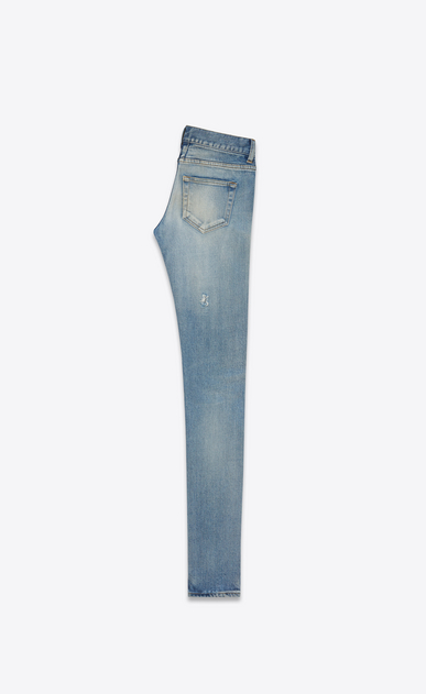 SAINT LAURENT Skinny fit D Jeans skinny original a vita bassa blu vintage 90's in denim stretch b_V4