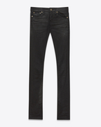 SAINT LAURENT Denim Pants D Original Low Waisted Skinny Jean in Black Coated Stretch Denim f