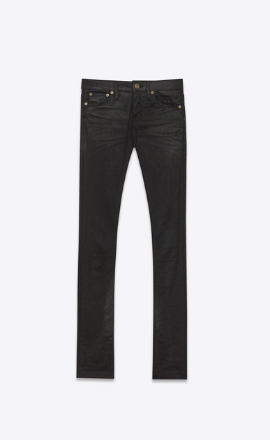 SAINT LAURENT Skinny fit D Original Low Waisted Skinny Jean in Black Coated Stretch Denim v4