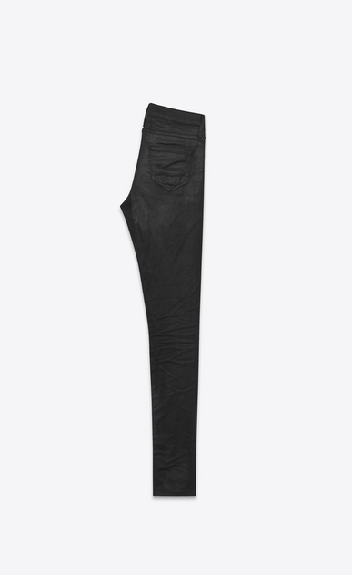 SAINT LAURENT Skinny fit D Jeans skinny Original a vita bassa neri in denim stretch cerato b_V4