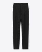 SAINT LAURENT Classic Pant D Iconic LE SMOKING 80's High Waisted Trouser in Black Grain De Poudre Virgin Wool f
