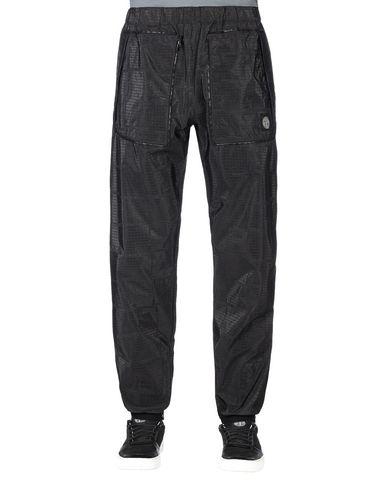 STONE ISLAND Trousers 316J4 STONE ISLAND HOUSE CHECK JACQUARD ON NYLON METAL BLACK WATRO _ PACKABLE