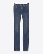 SAINT LAURENT Jeans D Original Low Waisted Skinny Jean in Dark Blue Stretch Denim f