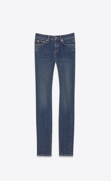 SAINT LAURENT Skinny fit D Jeans skinny original a vita bassa blu scuri in denim stretch a_V4