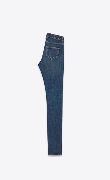 SAINT LAURENT Skinny fit D Jeans skinny original a vita bassa blu scuri in denim stretch b_V4