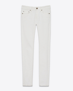 SAINT LAURENT Jeans D Original Low Waisted Skinny Jean in White Stonewashed Stretch Denim f
