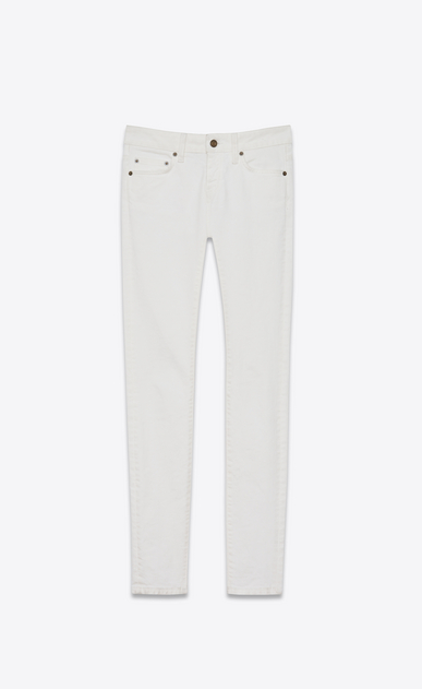 SAINT LAURENT Skinny fit D Original Low Waisted Skinny Jean in White Stonewashed Stretch Denim v4