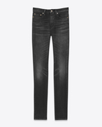 SAINT LAURENT Skinny fit D Jeans skinny original a vita media neri in denim stretch a effetto leggermente usato f