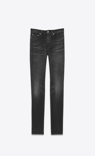 SAINT LAURENT Skinny fit D Jeans skinny original a vita media neri in denim stretch a effetto leggermente usato a_V4