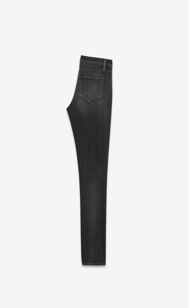 SAINT LAURENT Skinny fit D Jeans skinny original a vita media neri in denim stretch a effetto leggermente usato b_V4