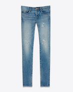 SAINT LAURENT Jeans D Original Low Waisted Repaired Skinny Jean in Clear Blue Stretch Denim f