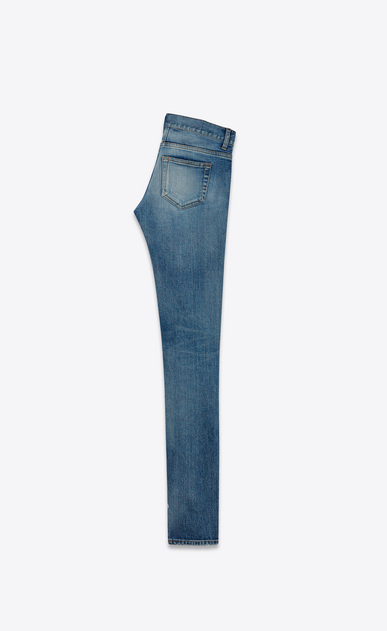 SAINT LAURENT Skinny fit D jeans skinny original a vita bassa repaired blu chiaro in denim stretch b_V4