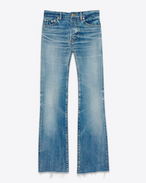 SAINT LAURENT Baggy D Original Cropped Flared Jeans in Vintage Blue Denim f